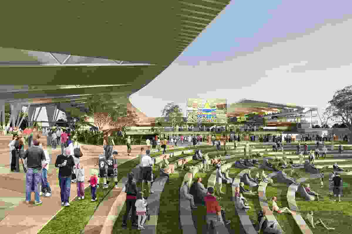 An entrance to the proposed North Queensland Stadium designed by Cox Architecture and 9Point9 Architects.