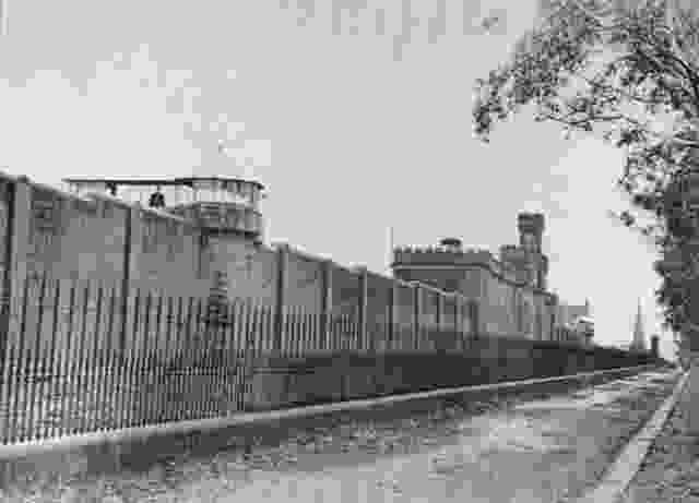 Photograph of the front wall and main gate of Pentridge Prison, 1900.