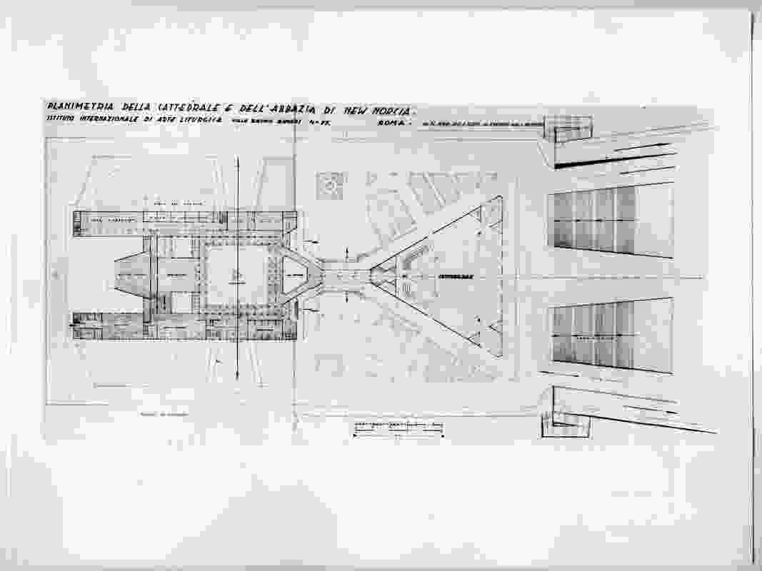 Plan for the New Norcia Cathedral and Abbey. Accession number NNA 05176 plate 1