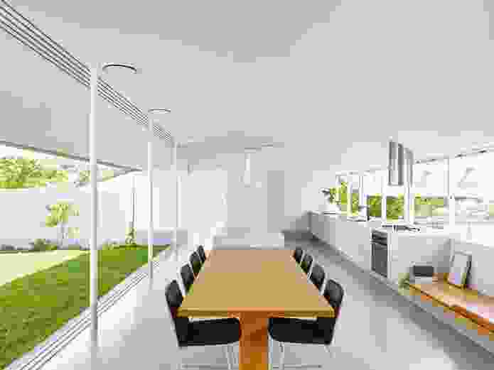 """The kitchen pavilion sits between the two primary gardens and acts as a viewing platform for the """"playing field."""""""