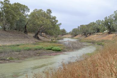 The Darling River at Wilcannia, New South Wales in 2014. The idea of landscape, as separated and separable, has contributed to the commodification of the environment with consequences showing in the particularly dire state of the Darling River.