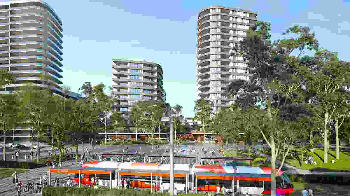 The lightrail stop in the proposed masterplan for Telopea led by Urbis.