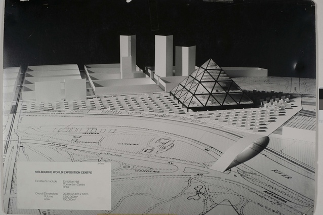 "Shortlisted entry in the 1978 Melbourne Landmark Ideas Competition: ""Melbourne World Exposition Centre."""