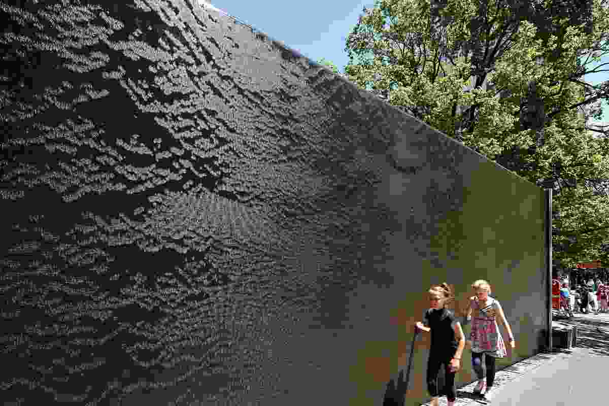 The site's fountain wall was given to the city by  the late John Mockridge, an architect of post-World War II Melbourne.