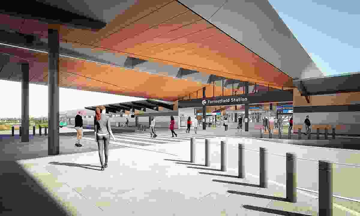 The exterior of Forrestfield Station by Weston Williamson and Partners in collaboration with GHD Woodhead.