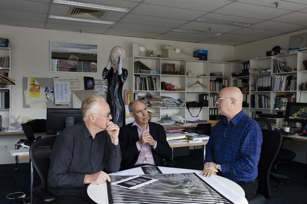 ARM founding directors, photographed in 2015 (from left): Howard Raggatt, Stephen Ashton and Ian McDougall.