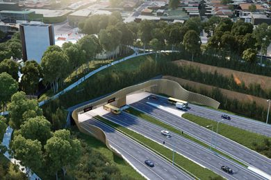A visualization of the WestConnex M5 project at St Peters, Sydney, which will see the destruction of 500 trees at the southern end of Sydney Park.