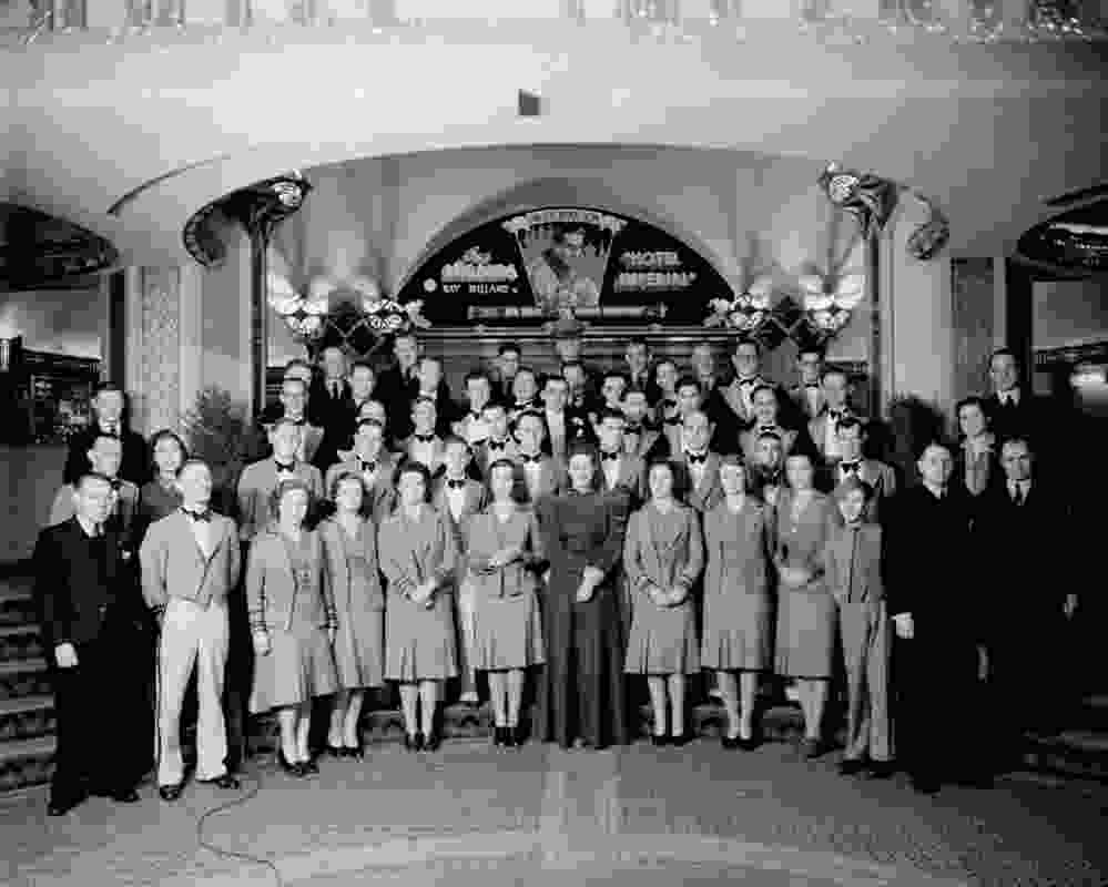 Staff of Capitol Theatre in foyer ca. 1938-40. Harold Paynting Collection, State Library of Victoria.