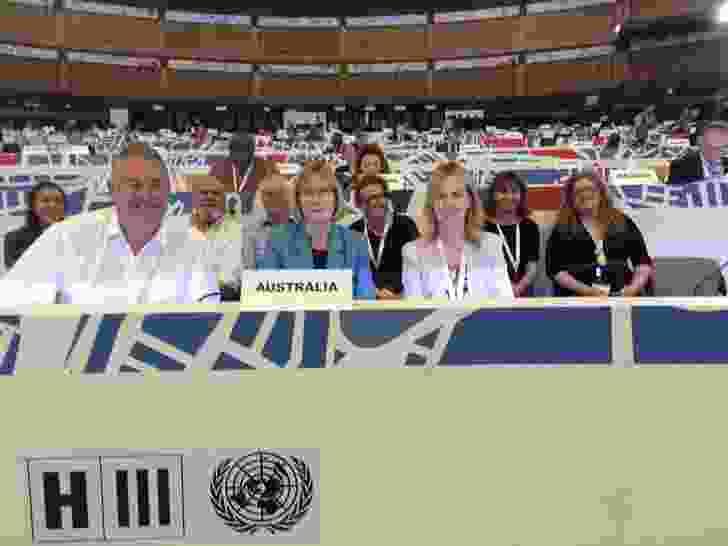 Australian delegation with UN Ambassador Gillian Bird.