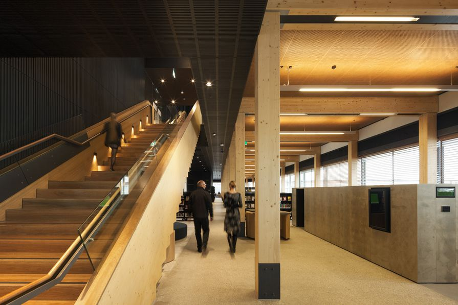 Library at The Dock by Clare Design (design architects) and Hayball (architects of record).