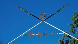 Archway of crossed spears above the KASH entrance gateway, a modest monument to Kalkadoon culture. The Kalkadoon are described as the people of the Eyre region between the Georgina and Corella Rivers, and are well known for the ferocious and courageous battle they fought against the Native Police in 1884.
