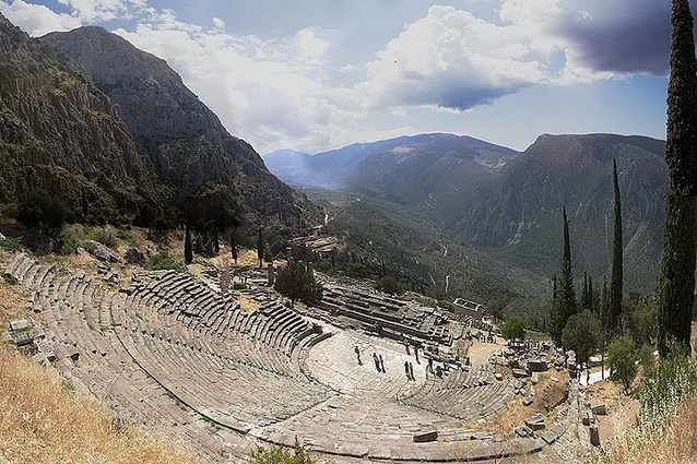The ruins of the theatre at Delphi, Greece, originally built in the 4th century BC.