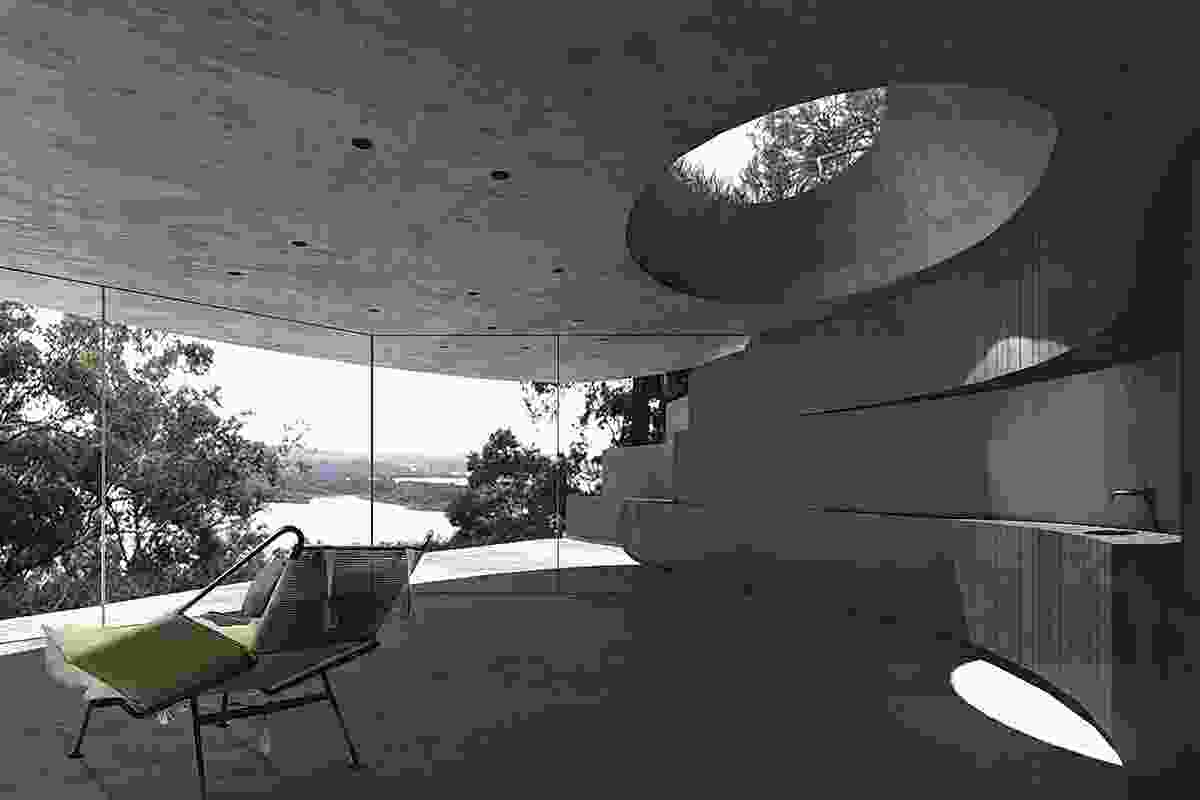 Cave House (proposed0: Envisaged to hunker down into its setting with a turf roof. Visualization: Matt Fonda and Sonny Lee.
