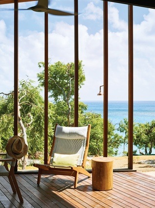 An outdoor room at the north-west end of the house frames extraordinary views across the Pacific Ocean.
