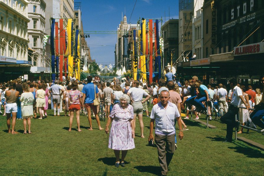 Central Melbourne: Framework for the Future by City of Melbourne – Hardware Lane, McKillop Street and Swanston Street, Victoria,1985–ongoing. Pictured here is the Swanston Street Party (1985).