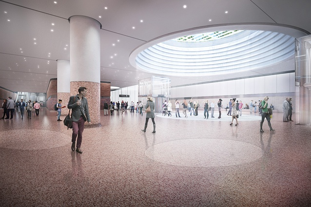 The proposed concourse at Arden station to be designed by Hassell, Weston Williamson and Rogers Stirk Harbour and Partners.