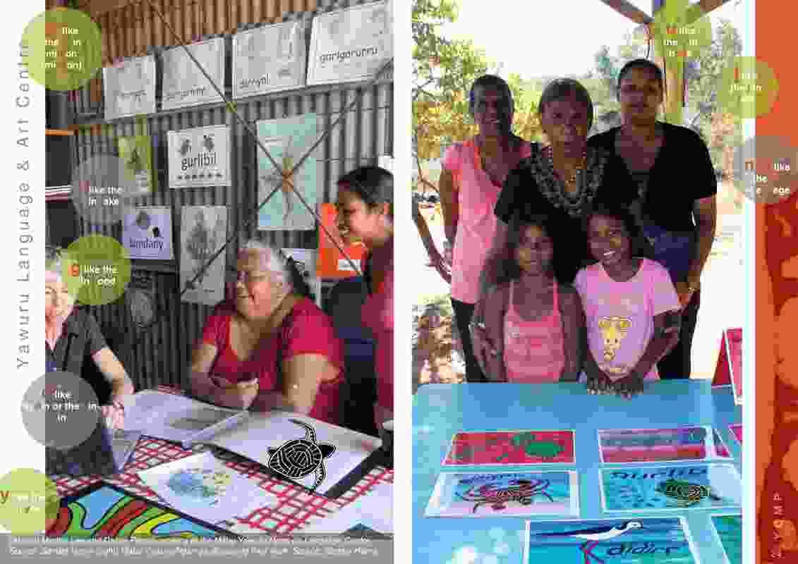 Martha Lee and Dalisa Pigram working in the Mabu Yawuru Ngan-ga Language Centre and Mabu Yawuru Ngan-ga displaying their work.