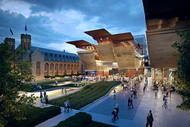 A new entrance building will be created for University of Adelaide's North Terrace campus under its new 20-year masterplan by FJMT.