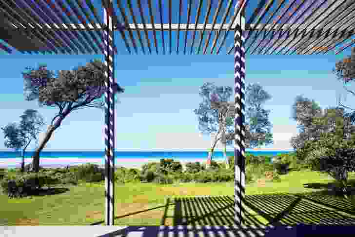 The pergola is built to the height of neighbouring banksia trees.