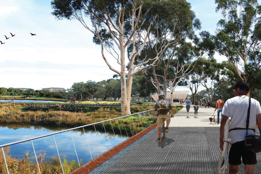 Riverbank Precinct, Adelaide. Design by Woods Bagot and Oxigen for Renewal SA.