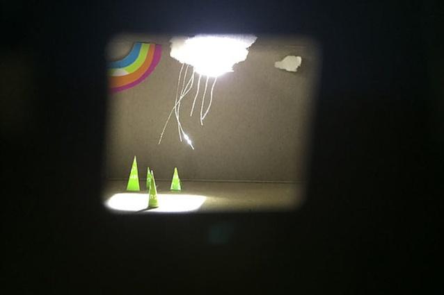 A scene inside a diorama in the <i>Imaginary Architecture</i> installation by Lara Tumak.