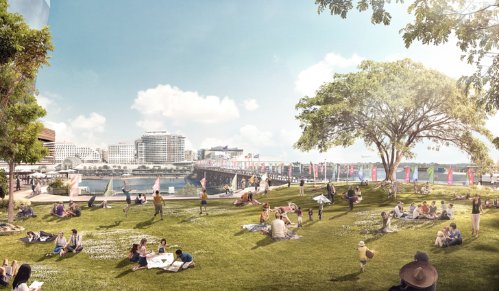 An indicitive design for the Cockle Bay Wharf redevelopment by FJMT, Tony Caro Architecture and Aspect Studios.