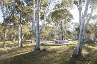 A fire pit designed by Michael Bates in the Snowy Mountains.