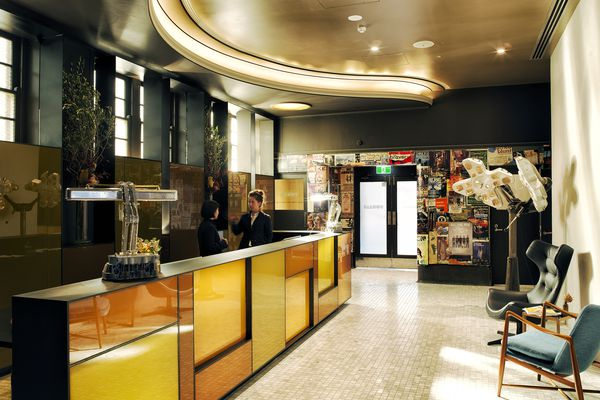 Amber glass on the hotel's reception desk harks back to the site's history with beer.
