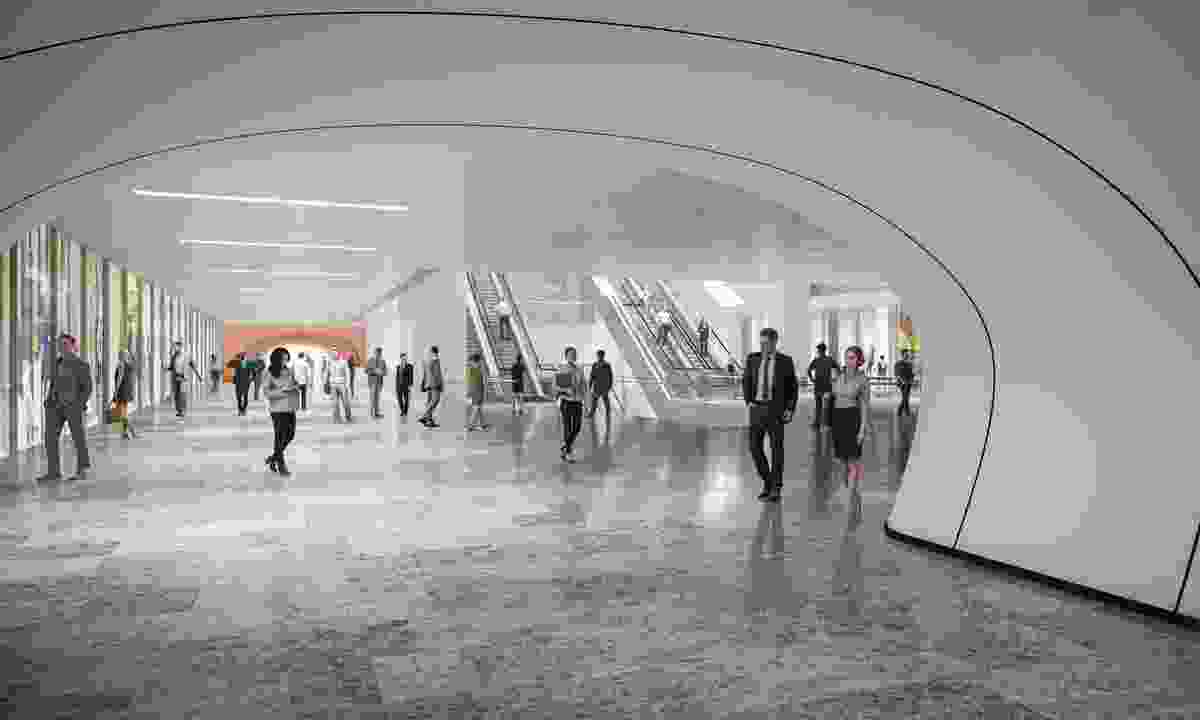 A proposed public walkway beneath Martin Place, part of Macquarie Group's unsolicited proposal for Martin Place, designed by Grimshaw and Johnson Pilton Walker.