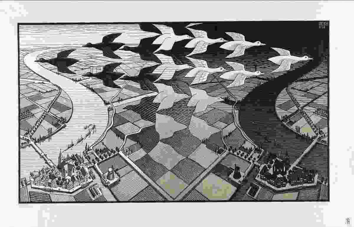 Day and night by M. C. Escher.