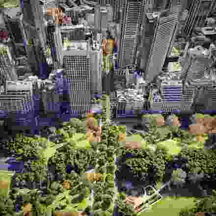 贝茨·Smart设计的悉尼步行大道,入围了2021年AA未建成作品奖,它是一个城市塑造的愿景,旨在为行人重新塑造城市的公园街(上图为当前的样子,下图为重新想象的样子)。